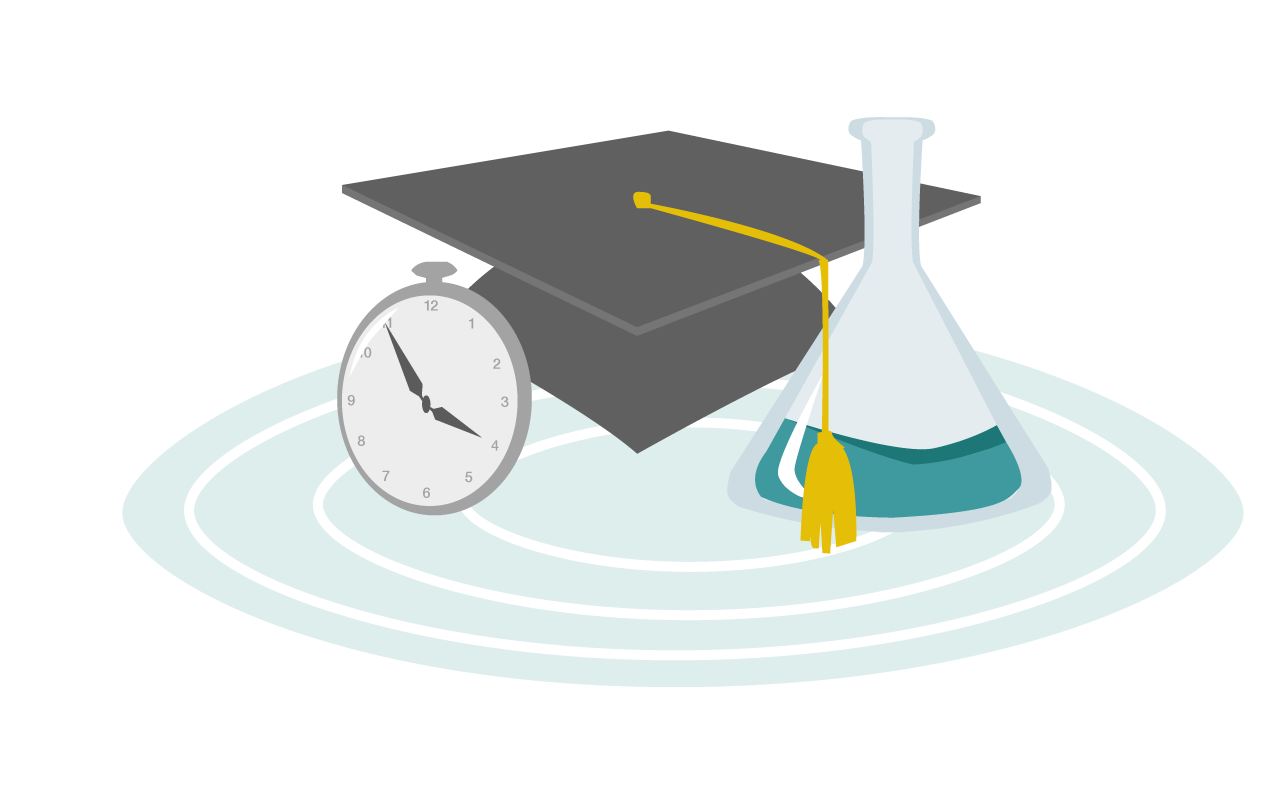 Graphic of a graduation cap, a beaker, stop watch - graphic for Jura by Indigo Interactive - Automated Accreditation Software